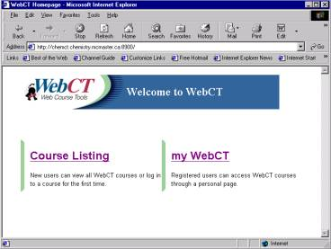 Walkthrough of WebCT startup